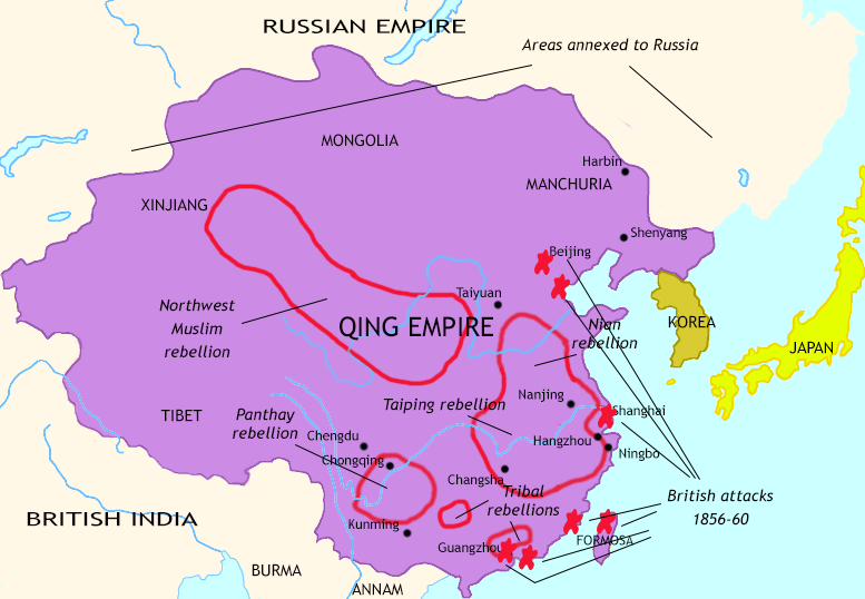Map of The Last Century of Imperial China at 1860CE
