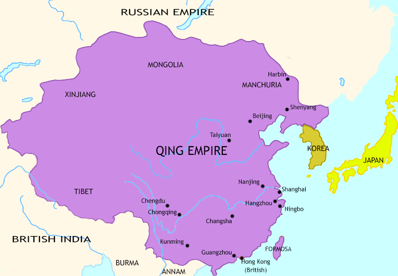 Map of The Last Century of Imperial China at 1872CE