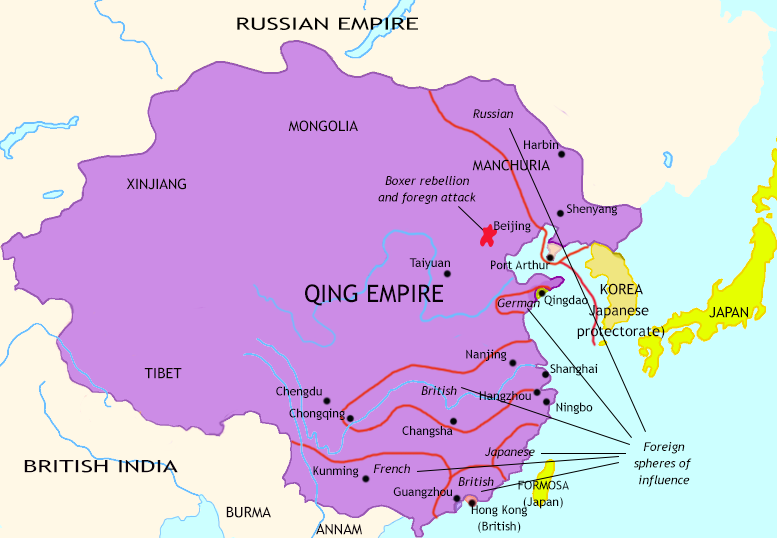 Map of The Last Century of Imperial China at 1900CE